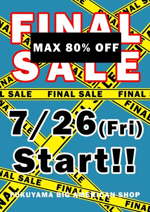 福山ビッグアメリカンショップ FINAL SALE !!